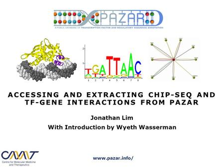 Www.pazar.info/ ACCESSING AND EXTRACTING CHIP-SEQ AND TF-GENE INTERACTIONS FROM PAZAR Jonathan Lim With Introduction by Wyeth Wasserman.