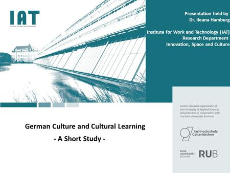 Agenda German Culture Cultural learning Literature Philosophy Science