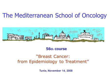 The Mediterranean School of Oncology 56 th course Breast Cancer: from Epidemiology to Treatment Tunis, November 14, 2008.