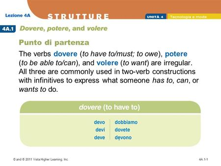 © and ® 2011 Vista Higher Learning, Inc.4A.1-1 Punto di partenza The verbs dovere (to have to/must; to owe), potere (to be able to/can), and volere (to.