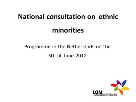 National consultation on ethnic minorities Programme in the Netherlands on the 5th of June 2012.