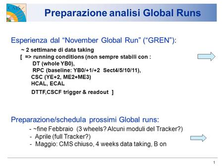 1 Preparazione analisi Global Runs Esperienza dal November Global Run (GREN): ~ 2 settimane di data taking [ => running conditions (non sempre stabili.