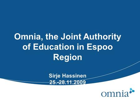 Omnia, the Joint Authority of Education in Espoo Region