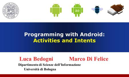 Programming with Android: Activities and Intents