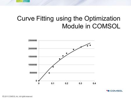 © 2011 COMSOL Inc. All rights reserved Curve Fitting using the Optimization Module in COMSOL.