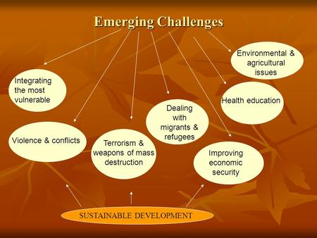 Emerging Challenges Integrating the most vulnerable Violence & conflicts Terrorism & weapons of mass destruction Dealing with migrants & refugees Improving.