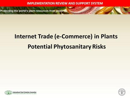 IMPLEMENTATION REVIEW AND SUPPORT SYSTEM Internet Trade (e-Commerce) in Plants Potential Phytosanitary Risks.
