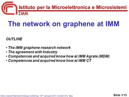 IMM Atom_based Nanotechnology workshop, 19 th January 2011, Arcetri (FI), Italy The network on graphene at IMM OUTLINE The IMM graphene research network.