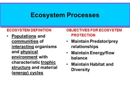 Ecosystem Processes OBJECTIVES FOR ECOSYSTEM PROTECTION Maintain Predator/prey relationships Maintain Energy/flow balance Maintain Habitat and Diversity.
