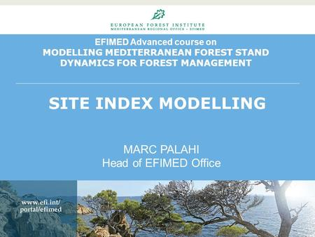 EFIMED Advanced course on MODELLING MEDITERRANEAN FOREST STAND DYNAMICS FOR FOREST MANAGEMENT SITE INDEX MODELLING MARC PALAHI Head of EFIMED Office.
