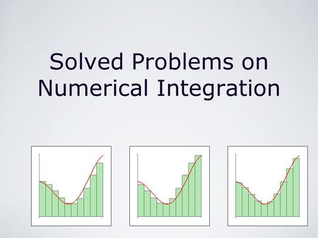 Solved Problems on Numerical Integration. Integration/Integration Techniques/Solved Problems on Numerical Integration by M. Seppälä Review of the Subject.