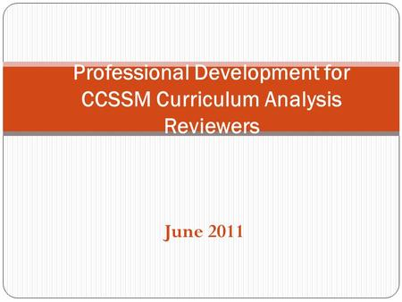 Professional Development for CCSSM Curriculum Analysis Reviewers
