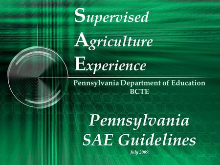 S upervised A griculture E xperience Pennsylvania Department of Education BCTE Pennsylvania SAE Guidelines July 2009.