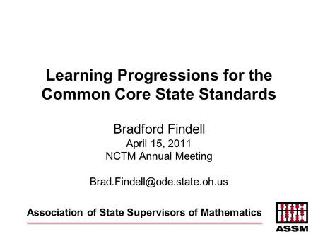 Learning Progressions for the Common Core State Standards
