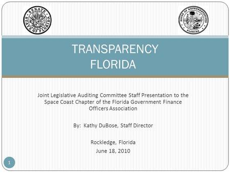 Joint Legislative Auditing Committee Staff Presentation to the Space Coast Chapter of the Florida Government Finance Officers Association By: Kathy DuBose,