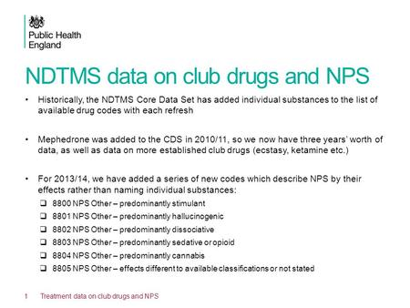 NDTMS data on club drugs and NPS Historically, the NDTMS Core Data Set has added individual substances to the list of available drug codes with each refresh.