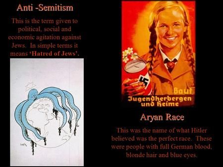 Anti -Semitism This is the term given to political, social and economic agitation against Jews. In simple terms it means Hatred of Jews. Aryan Race This.