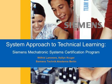 Siemens Professional Education SPE Berlin Siemens Technik Akademie MAR-05 System Approach to Technical Learning: Siemens Mechatronic Systems Certification.