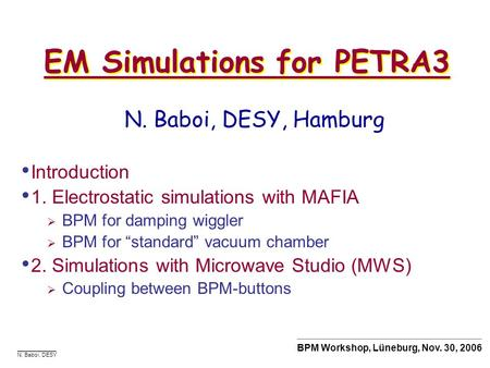 EM Simulations for PETRA3