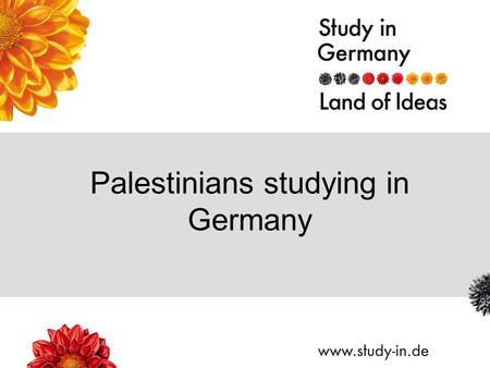 Palestinians studying in Germany. Title of Presentation | Seite 2 Universität Tübingen.