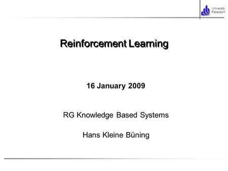 Reinforcement Learning