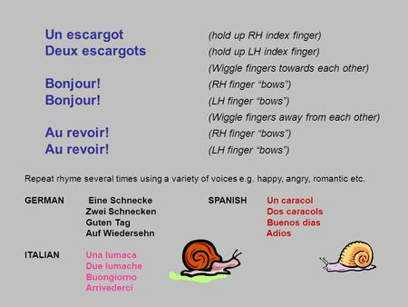 Un escargot (hold up RH index finger) Deux escargots (hold up LH index finger) (Wiggle fingers towards each other) Bonjour! (RH finger bows) Bonjour! (LH.