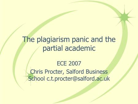 The plagiarism panic and the partial academic