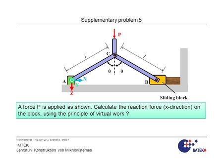 IMTEK Lehrstuhl Konstruktion von Mikrosystemen Micromechanics – WS 2011/2012/ Exercise 3 / sheet 1 Supplementary problem 5 A force P is applied as shown.