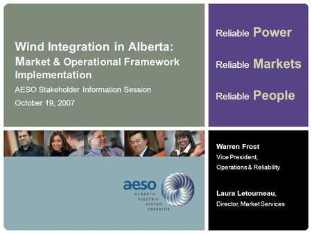 AESO Stakeholder Information Session October 19, 2007