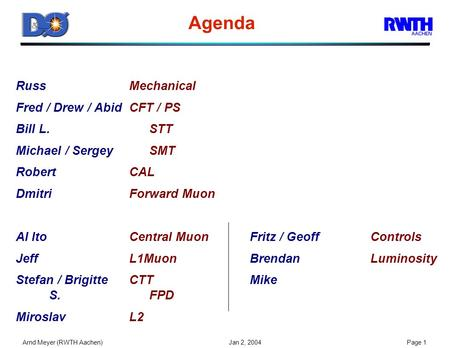 Arnd Meyer (RWTH Aachen) Jan 2, 2004Page 1 Agenda RussMechanical Fred / Drew / AbidCFT / PS Bill L.STT Michael / SergeySMT RobertCAL DmitriForward Muon.