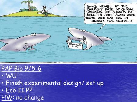 PAP Bio 9/5-6 WU Finish experimental design/ set up Eco II PP HW: no change.