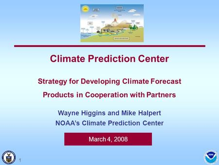 March 4, 2008 Climate Prediction Center Strategy for Developing Climate Forecast Products in Cooperation with Partners Wayne Higgins and Mike Halpert NOAAs.