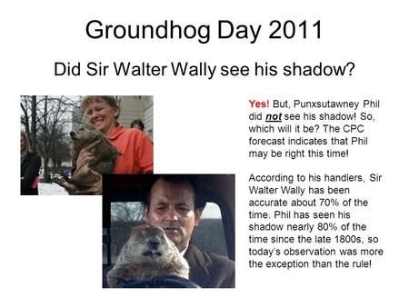 Groundhog Day 2011 Did Sir Walter Wally see his shadow? Yes! But, Punxsutawney Phil did not see his shadow! So, which will it be? The CPC forecast indicates.