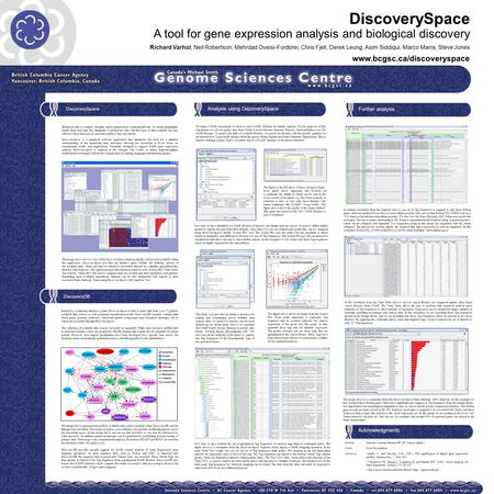 DiscoverySpace A tool for gene expression analysis and biological discovery Richard Varhol, Neil Robertson, Mehrdad Oveisi-Fordorei, Chris Fjell, Derek.