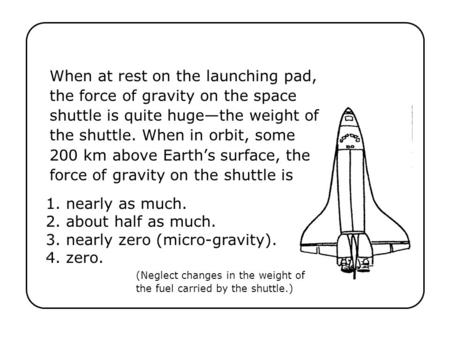 When at rest on the launching pad, the force of gravity on the space shuttle is quite huge—the weight of the shuttle. When in orbit, some 200 km above.