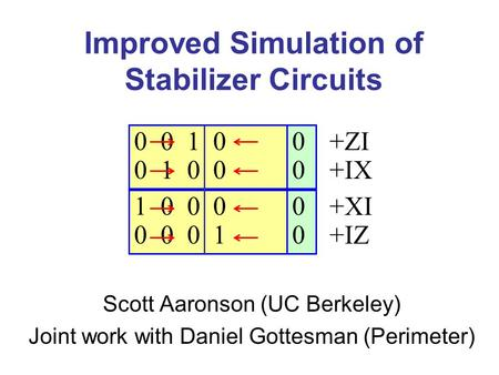 Improved Simulation of Stabilizer Circuits Scott Aaronson (UC Berkeley) Joint work with Daniel Gottesman (Perimeter) 0 0 0 0 1 0 0 1 0 0 1 0 0 0 0 0 0.