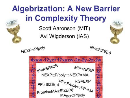 Algebrization: A New Barrier in Complexity Theory