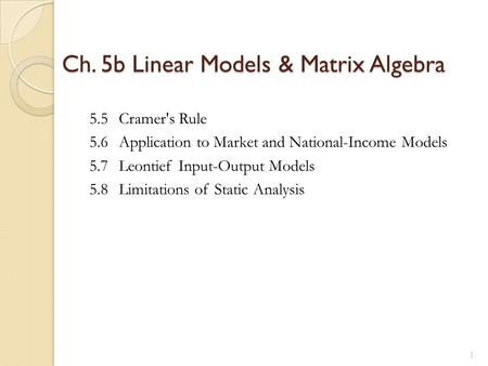 Ch. 5b Linear Models & Matrix Algebra