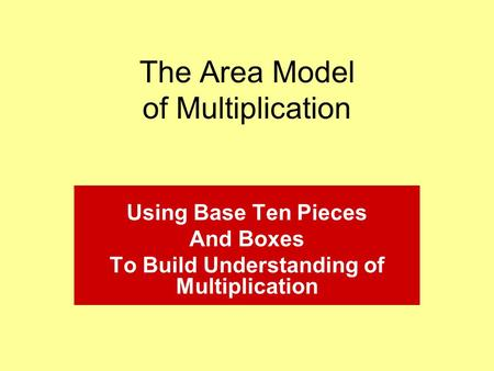 The Area Model of Multiplication Using Base Ten Pieces And Boxes To Build Understanding of Multiplication.