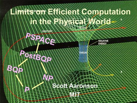 BQP PSPACE NP P PostBQP Limits on Efficient Computation in the Physical World Scott Aaronson MIT.