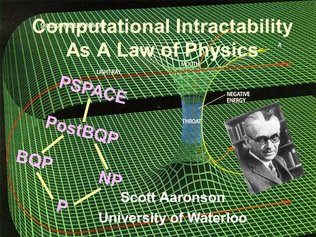 BQP PSPACE NP P PostBQP Computational Intractability As A Law of Physics Scott Aaronson University of Waterloo.