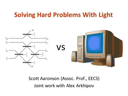 Solving Hard Problems With Light Scott Aaronson (Assoc. Prof., EECS) Joint work with Alex Arkhipov vs.