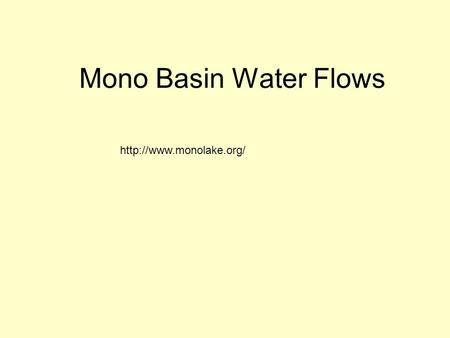 Mono Basin Water Flows