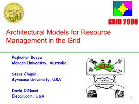 1 Architectural Models for Resource Management in the Grid Rajkumar Buyya Monash University, Australia Steve Chapin, Syracuse University, USA David DiNucci.