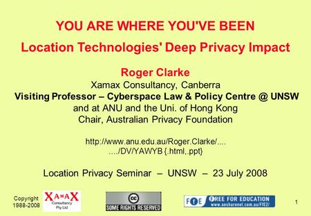 Copyright 1988-2008 1 Roger Clarke Xamax Consultancy, Canberra Visiting Professor – Cyberspace Law & Policy UNSW and at ANU and the Uni. of Hong.
