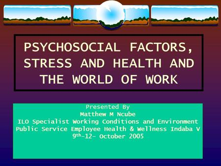 PSYCHOSOCIAL FACTORS, STRESS AND HEALTH AND THE WORLD OF WORK Presented By Matthew M Ncube ILO Specialist Working Conditions and Environment Public Service.