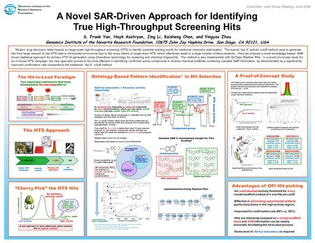 A Novel SAR-Driven Approach for Identifying True High-Throughput Screening Hits S. Frank Yan, Hayk Asatryan, Jing Li, Kaisheng Chen, and Yingyao Zhou Genomics.