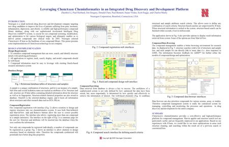 Leveraging ChemAxon Cheminformatics in an Integrated Drug Discovery and Development Platform Zhenbin Li, Paul Starbard, Jim Gregory, Donald Chen, Paul.
