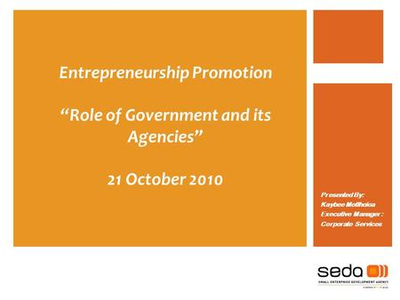 Entrepreneurship Promotion Role of Government and its Agencies 21 October 2010 Presented By: Kaybee Motlhoioa Executive Manager : Corporate Services.