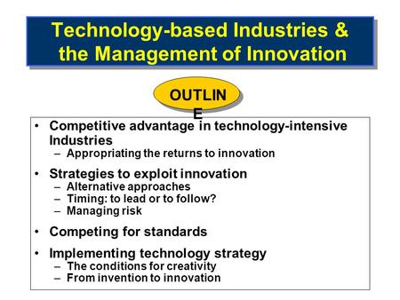 Technology-based Industries & the Management of Innovation Competitive advantage in technology-intensive Industries –Appropriating the returns to innovation.